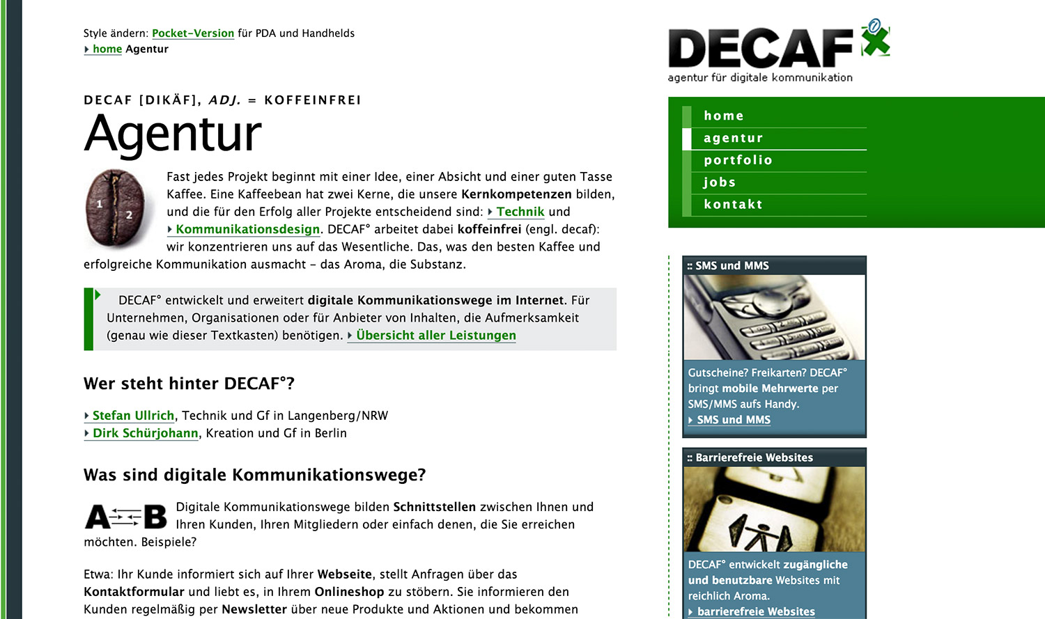 Screenshot Website Version 1, Agentur