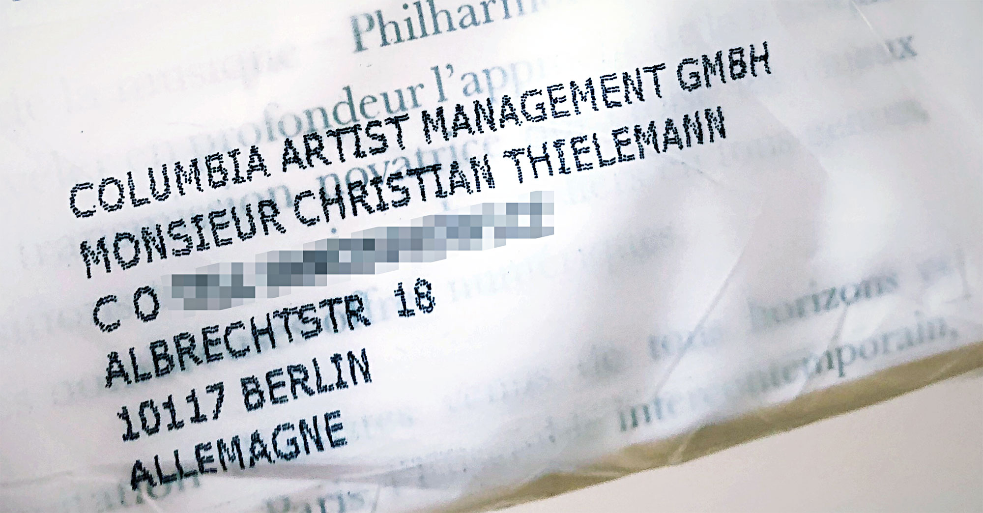 Post für Monsieur Christian Thielemann